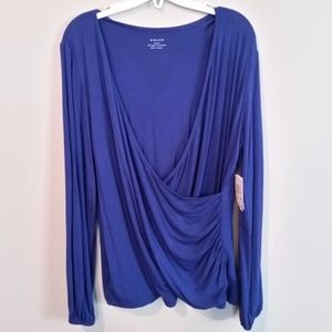 Royal Blue Surplice Top Size 0X